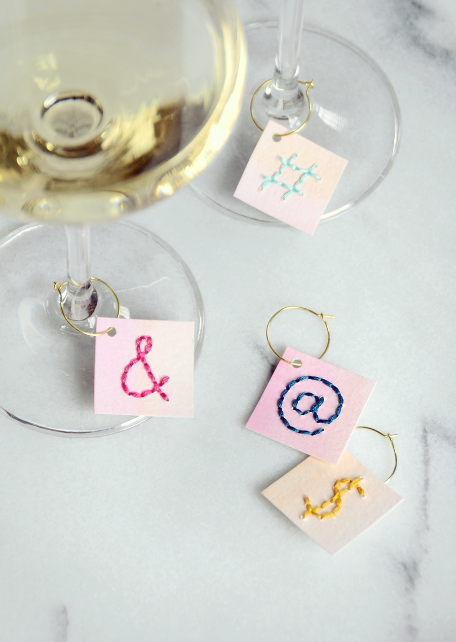 Stitched Paper DIY Wine Charms | Easy Entertaining | By Design Fixation