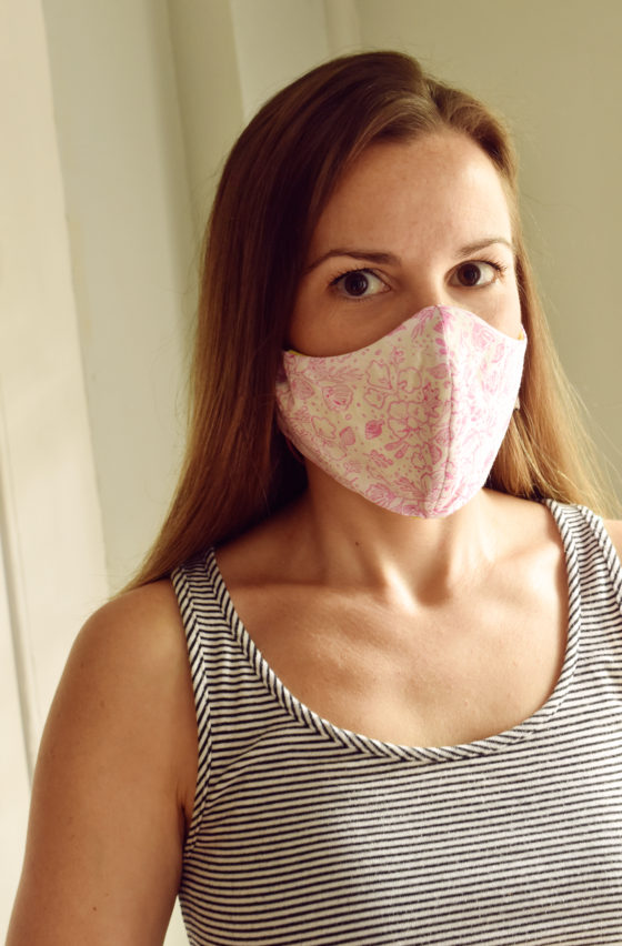 DIY Face Mask With Custom Stamped Fabric /// By Faith Provencher of Design Fixation #face_mask #rubberstamps #how-to
